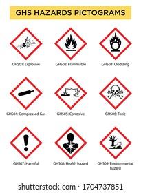 set of globally harmonized system hazard pictograms on white background, GHS pictogram hazard sign set