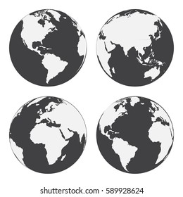 Set of globe earth icons. Flat style. Vector illustration