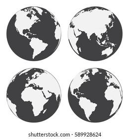 Set of globe earth icons. Flat style. Vector illustration