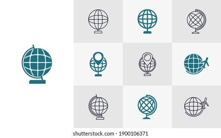 Set of Globe icon vector template, Travel design icon concepts, Creative design