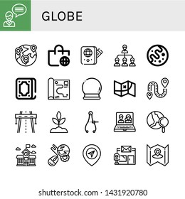 Set of globe icons such as Contact us, Global, Worldwide shipping, Passport, Network, Mars, Fortunetelling, Map, Crystal ball, Destination, Highway, Sprout, Caliper, Online , globe