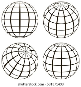 Set globe, the technical picture of the contours of the earth, imaginary lines of a grid Meridian and the parallel of longitude, vector template of globe