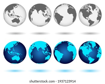 Set of globes of Earth in blue and monochrome colors. Realistic world map in globe shape with shadow. Vector illustration
