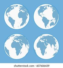 Set of globes on a blue background