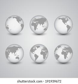 Set of globes, World Map Vector, light design vector illustration