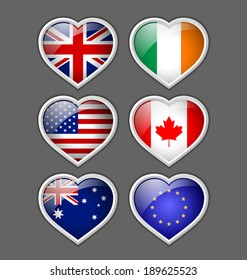 Set of glossy American, British, Irish, European, Canadian and Australian heart icons