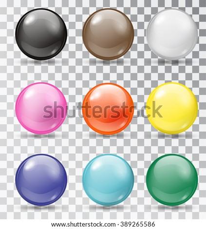 Set of glossy balls on a transparent background. Isolated objects. Vector illustration