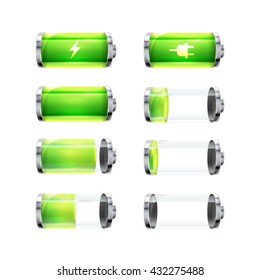 Set of glossy battery icons with different charge level and power signs isolated on white
