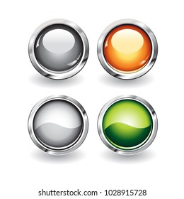 Set of glossy buttons with metallic edges
