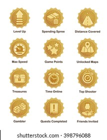 A set of glossy golden achievement winn er badges to appreciate top players. For shooter, runner, arcade, social and other games.