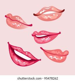 Set of glossy lips