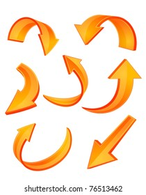 Set of glossy orange arrow icons for web design or logo template. Jpeg version also available in gallery