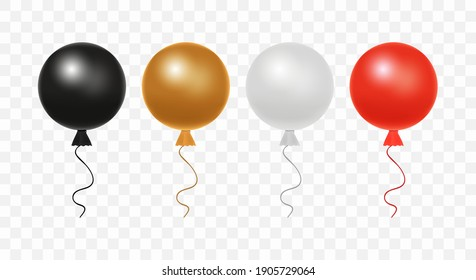 Set of glossy realistic vector colorful balloons isolated on transparent background. Colorful realistic helium balloons for birthday, holiday events, parties, weddings: Black, brown, gray, red colors.
