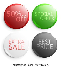 Set of glossy sale buttons. Illustration isolated on white background. Graphic concept for your design