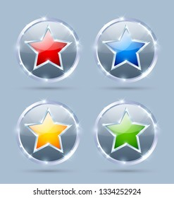 Set of glossy silver or platinum plaques with star isolated on background