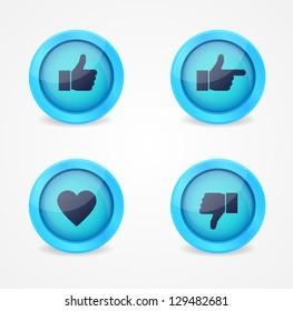 Set of glossy social vector icons