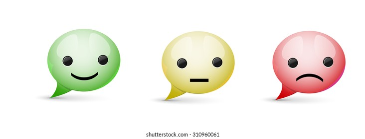Set of  glossy speech bubble icon with different mood on white background, three colors of expression, vector
