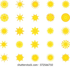 Set of glossy sun images for you design