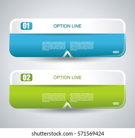 Set of glossy vector banners with clean white band for business design, infographics, reports, number options, step presentation or workflow layout.