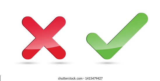 Set of glossy X & check mark icons. Cross & tick symbols isolated on white background.