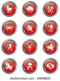Set of Glossy Zodiac Buttons / vector