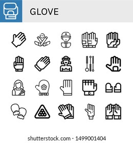 Set of glove icons such as Boxing gloves, Rubber gloves, Ice hockey, Baseball player, Gloves, Glove, Muay thai, Cleaning brush, Housekeeper, Hand glove, Mittens, Billiard ,