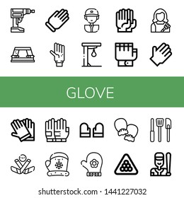 Set of glove icons such as Driller, Paper punch, Glove, Baseball player, Punching ball, Gloves, Housekeeper, Rubber gloves, Ice hockey, Hand glove, Mittens, Billiard, Kitchen tools ,