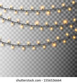 Set of glowing Christmas lights. Christmas garland lights. Decorative realistic bulbs. Holiday vector decor set of garlands with shadows