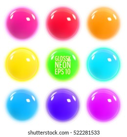 Set of glowing colorful realistic spheres. Colorful three-dimensional balls. Vector illustration for your graphic design.