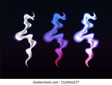 Set of Glowing Colorful Smoke Waves. Vector Template Transparent Texture of Smoke. Hot Steam Illustration Concept