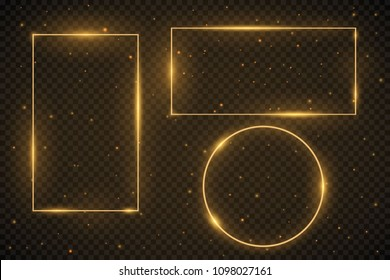 Set of glowing frames. Vector square and round frames illustration