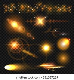 Set of glowing light effect stars bursts with sparkles on transparent background. Vector illustration