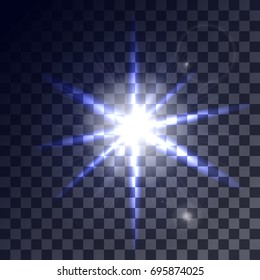 Set of glowing light effects with transparency isolated on plaid vector background. Lens flares, rays, stars and sparkles. Vector illustration
