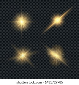 Set of glowing light explodes on a transparent background. Sparkling magical dust particles. Bright Star. Transparent shining sun, bright flash. Vector sparkles. To center a bright flash. Christmas
