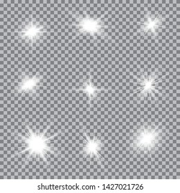 Set of Glowing Light Stars with Sparkles. Light effect. Vector Illustration..