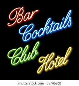 Set of glowing neon signs. Vector.