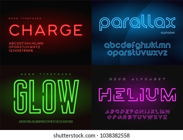Set of glowing neon vector typefaces, alphabets, letters, fonts, typography. Global swatches.