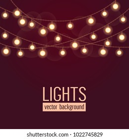 Set of glowing string lights on dark red background. Vector illustration.