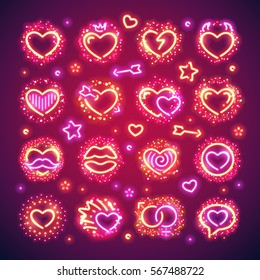 Set of glowing Valentines hearts with vibrant sparkles makes it quick and easy to customize your romance projects. Used neon vector brushes included.