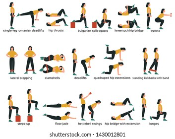 Set of glute exercises and workouts. Flat vector illustration. Glute exercises with titles or names. Woman doing glute  exercises.