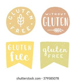 Set of gluten free badges. Vector hand drawn illustration