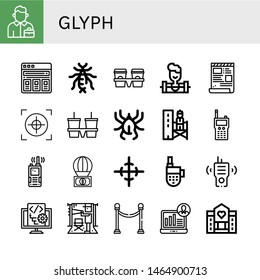 Set of glyph icons such as Salesman, Price list, Earwig, Cup carrier, Weighlifter, Script, Crosshair, Acari, Supervisor, Walkie talkie, Parachute, Center of gravity, Director , glyph