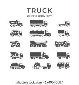 Set glyph icons of trucks