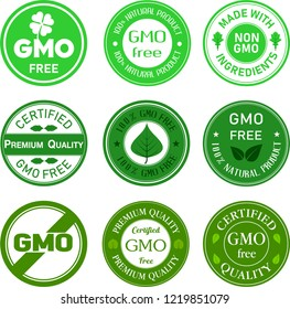 set of GMO FREE,Organic food,natural product icons and elements collection for food market, ecommerce, and organic products promotion food and drink.