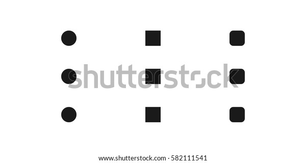 Set of go menu options open expand side bar settings button app icon three dark grey gray black dots squares on white background trendy minimalistic simple isolated flat design vector
