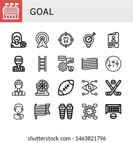 Set of goal icons such as Stadium, Football player, Target, Skills, Referee, Ladder, Pride, Equalizer, Darts, Rugby, Vision, Hockey stick, Soccer player, Shin, Development , goal