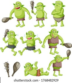 Set of goblin or troll with hunting tool isolated on whie background illustration