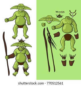 Set of goblins v1. Goblin Shaman Vector cartoon goblin shaman body parts and his equipment