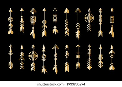 Set of gold arrow. Tribal elements collection. Geometric trendy hipster jewelry collection. Vector design elements.