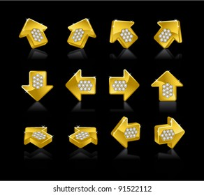 Set of Gold arrows on a black background